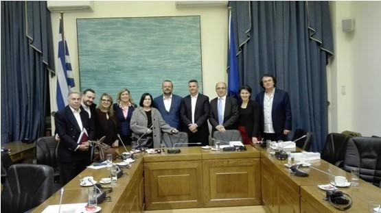 Επίσκεψη των μελών της Εκτελεστικής Γραμματείας του Δικτύου στη Βουλή και συνάντηση με τον πρόεδρο και μέλη της Ειδικής μόνιμης επιτροπής Ελληνισμού της Διασποράς